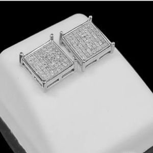 Other - REAL DIAMOND White Gold Silver Square Men Earrings